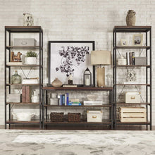 Load image into Gallery viewer, New modhaus living industrial rustic style black metal frame 6 tier 26 inches horizontal bookshelf storage media tower dark brown finish living room decor includes pen 26 inches wide