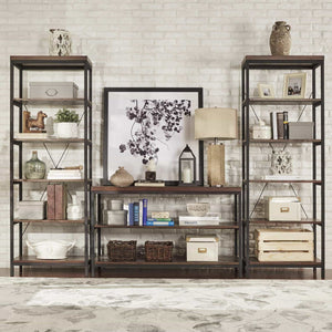 New modhaus living industrial rustic style black metal frame 6 tier 26 inches horizontal bookshelf storage media tower dark brown finish living room decor includes pen 26 inches wide
