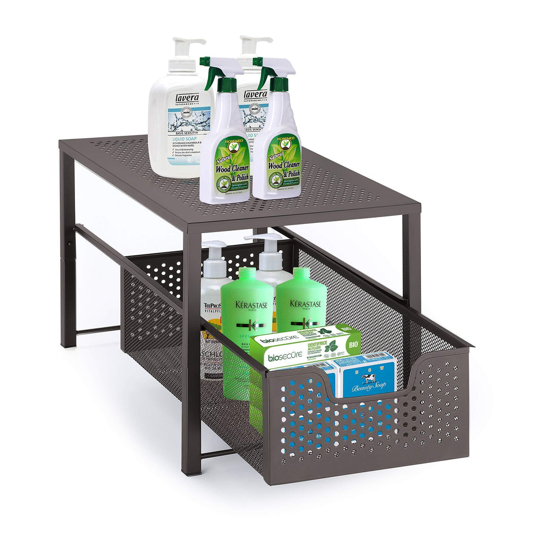 Simple Trending Under Sink Cabinet Organizer with Sliding Storage Drawer, Desktop Organizer for Kitchen Bathroom Office, Stackbale, Bronze