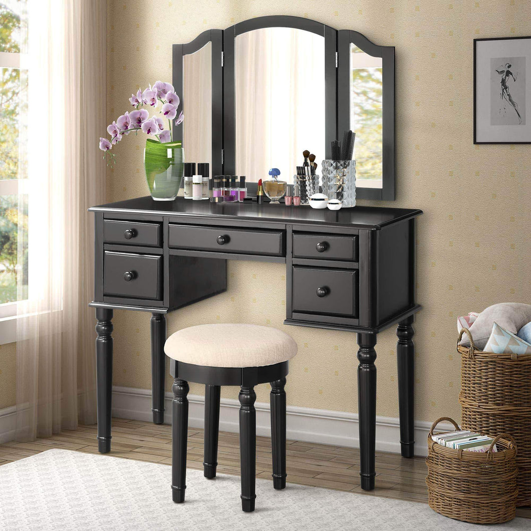 Harper & Bright Designs Vanity Set with 5 Drawers Make Up Vanity Table Make-up Dressing Table Desk Vanity with Mirror and Cushioned Stool for Women/Girls (Black)