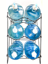 Load image into Gallery viewer, Buy now 3 to 5 gallon water bottle jug shelf rack holder stand kitchen storage instant set up stainless steel heavy duty collapsible sturdy durable portable fits anywhere only 11 lbs holds 400 lbs