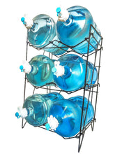 Load image into Gallery viewer, Discover the 3 to 5 gallon water bottle jug shelf rack holder stand kitchen storage instant set up stainless steel heavy duty collapsible sturdy durable portable fits anywhere only 11 lbs holds 400 lbs