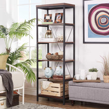 Load image into Gallery viewer, Get modhaus living industrial rustic style black metal frame 6 tier 26 inches horizontal bookshelf storage media tower dark brown finish living room decor includes pen 26 inches wide