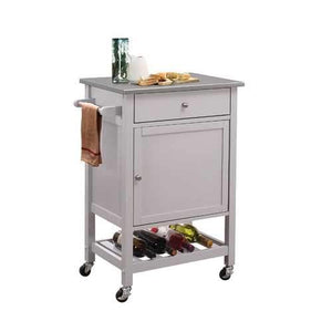 Kitchen Cart In Stainless Steel And Gray - Stainless Steel, Rubber W Stainless Steel And Gray