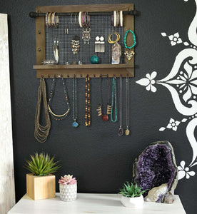 New wall necklace holder and jewelry organizer large rustic hanging display includes bracelet bar earrings grid 18 hooks and shelf perfect gift for bridal shower women girls or dorm room