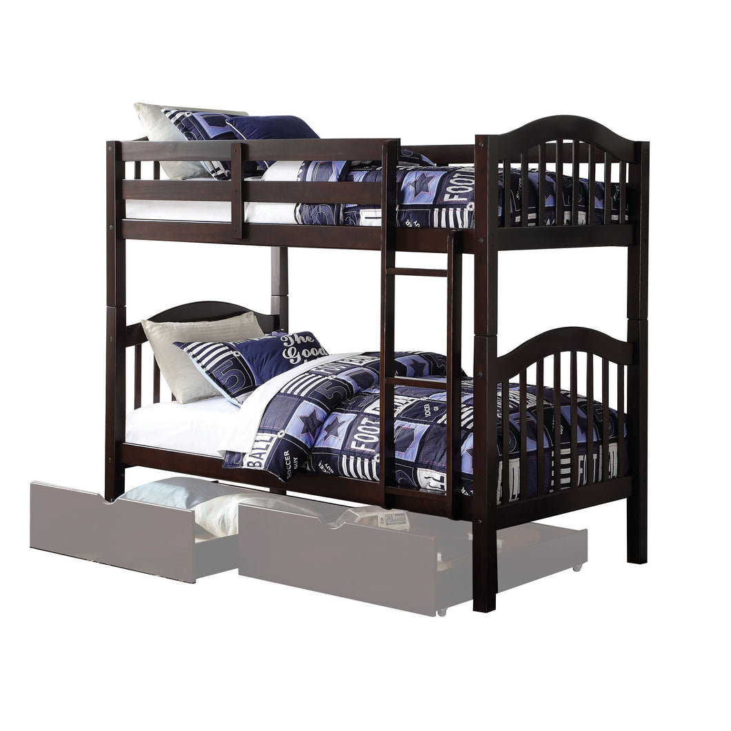 Acme 02554 Heartland Espresso Twin Over Twin Bunk Bed Storage Drawers