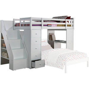 Acme 37145 Freya White Twin Loft Bed with Bookcase Ladder