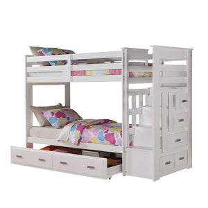 Acme 37370 Allentown White Storage Ladder Twin Twin Trundle Bunk Bed
