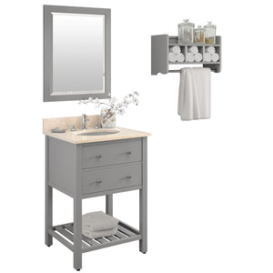 Lovington Gray Bath Vanity Set with Shelf/Mirror