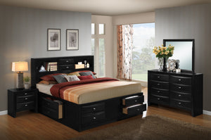 Blemerey 110 Black Wood Storage Bed Group  King Bed  Dresser  Mirror  Night Stand