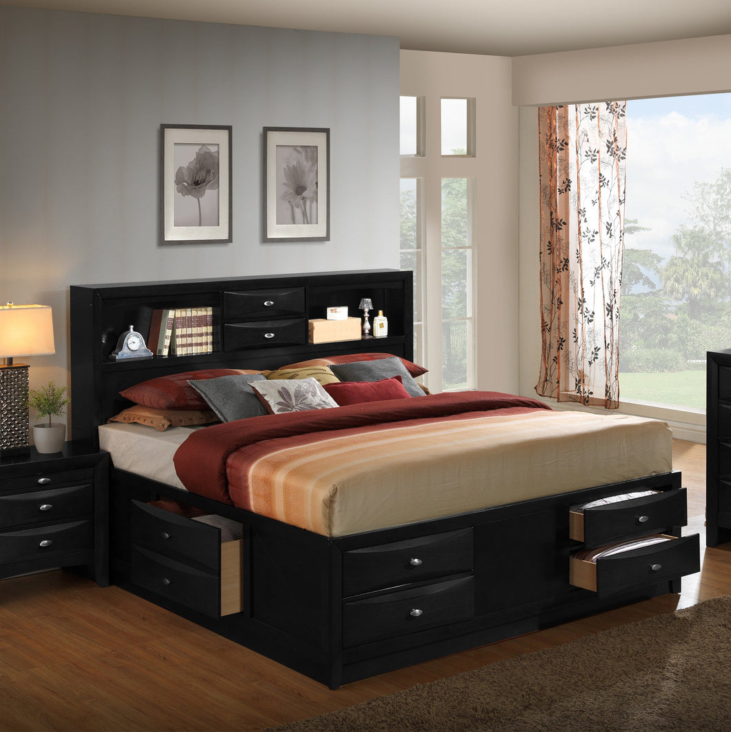 Blemerey 110 Black Wood Storage Queen Bed