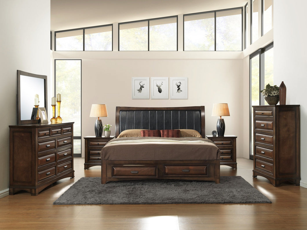 Broval 179 Light Espresso Finish Wood Bed Room Set, King Storage Bed, Dresser, Mirror, 2 Night Stands, Chest