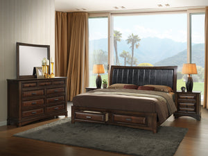 Broval 179 Light Espresso Finish Wood Bed Room Set, Queen Storage Bed, Dresser, Mirror, 2 Night Stands