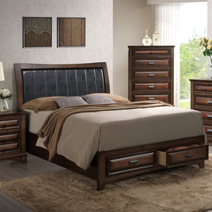 Broval 179 Light Espresso Finish Wood Queen Size Storage Platform Bed