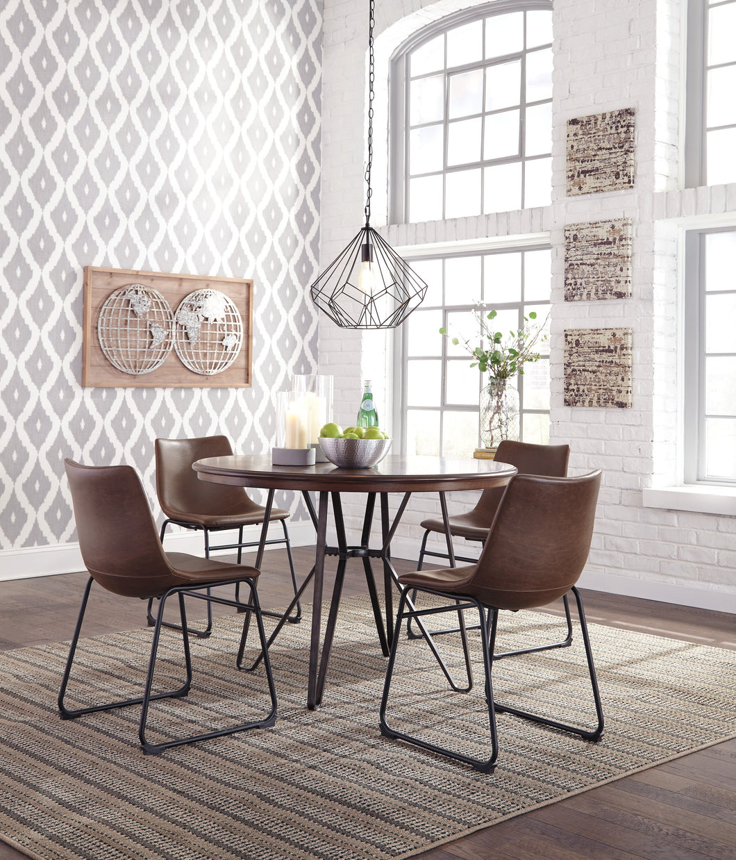 Centior Two-tone Brown Color Round Dining Room Table and Four Chairs