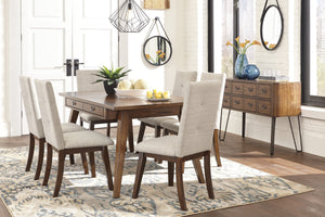 Centior Casual Two-tone Brown Color Wood  Dinging Room Set: Rectangular Table And 6 Chairs, Server