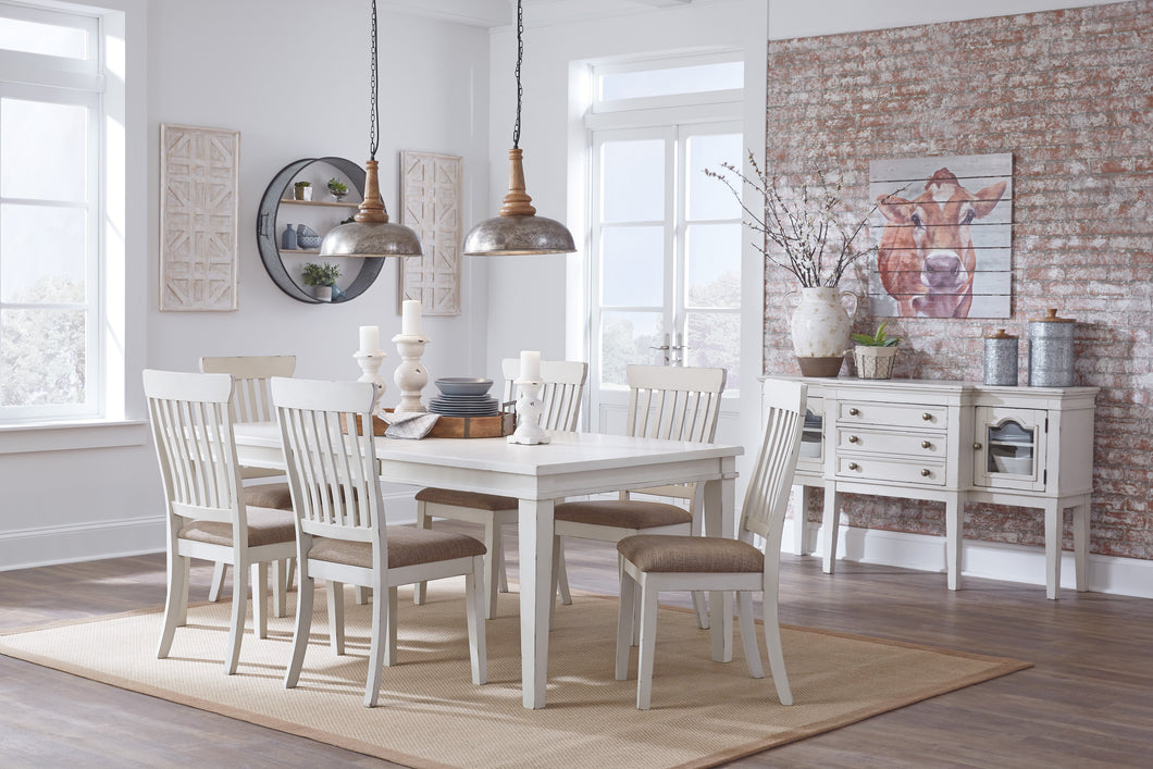 Dembuck Formal White Color  Dining Room Set: Rectangular Extension Table With 6 Side Chairs, Server