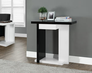 "32""LONG GLOSSY WHITE / BLACK HALL CONSOLE"