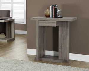 "32"" LONG DARK TAUPE HALL CONSOLE WITH DRAWER"