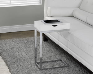 CHROME METAL / GLOSSY WHITE ACCENT TABLE WITH A DRAWER