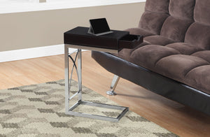 CHROME METAL / CAPPUCCINO ACCENT TABLE WITH A DRAWER