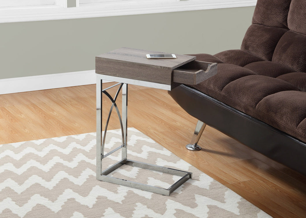 DARK TAUPE METAL FRAME ACCENT TABLE WITH A DRAWER