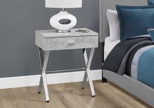 CAPPUCCINO WITH CHROME METAL FRAME NIGHT STAND/ACCENT TABLE
