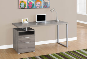 "60"" DARK TAUPE/ SILVER METAL COMPUTER DESK WITH DRAWER"