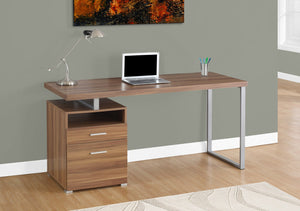 "60"" WALNUT / SILVER METAL COMPUTER DESK WITH DRAWER"