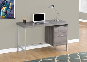 "48"" DARK TAUPE TOP SILVER METAL FRAME COMPUTER DESK WITH DRAWER"