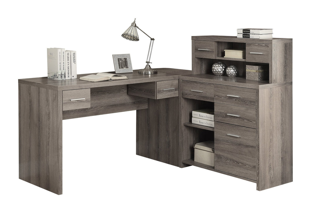 DARK TAUPE LEFT OR RIGHT FACING CORNER COMPUTER DESK