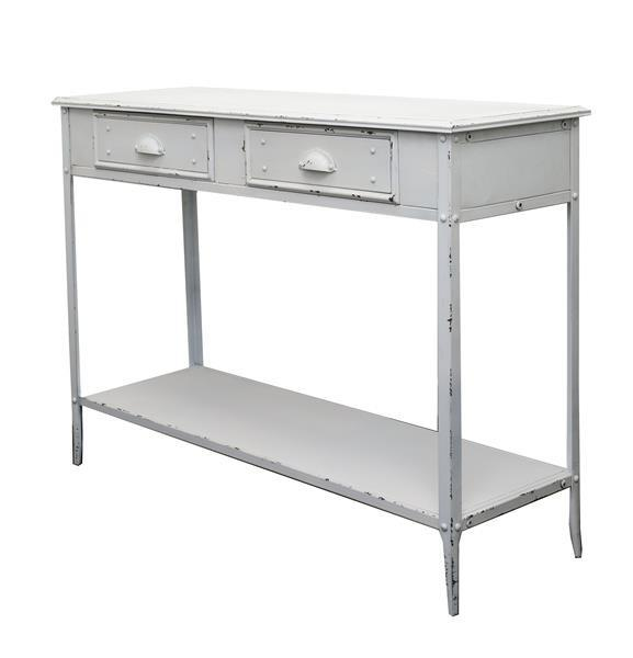 Industrial Locker Hall Table / Console Table With Storage Drawers (White)
