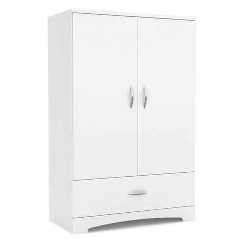 2-Door Armoire Wardrobe Cabinet with Bottom Storage Drawer in White Wood Finish