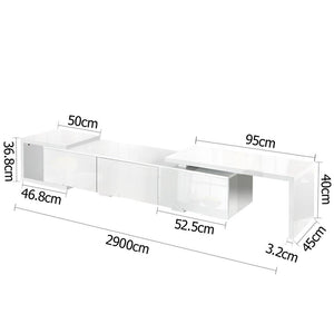 High Gloss Adjustable TV Stand Entertainment Unit - White