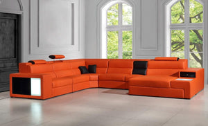"Divani Casa Polaris Collection 167"" 5-Piece Sectional Sofa with Bonded Leather Upholstery, Decorative Lights, Side Drawer and Shelf in Orange"