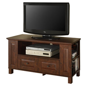 44 in. Multi-Purpose Wood TV Console - Traditional Brown