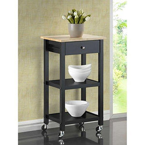 Contemporary Black Wood Kitchen Serving Rolling Cart with One Pull Out Storage Drawer and Two Bottom Shelves