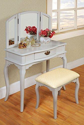 Contemporary Style Wooden Accent Curved Legs Tri-Folding Mirror Make-Up Vanity Dresser Table and Beige Upholstery Fabric Stool Set with Sinlge Storage Drawer | Rectangle, White Finish, Bedroom Furniture