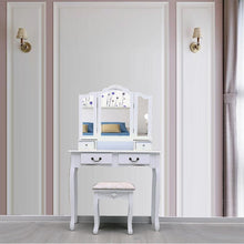 Load image into Gallery viewer, Tri Folding Vanity Mirror 4 Set Drawers Dressing
