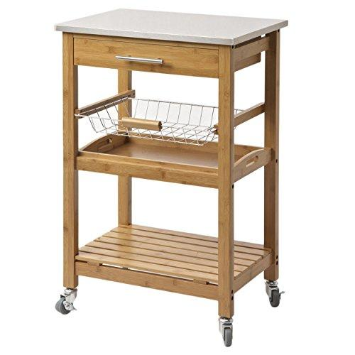 Contemporary Bamboo Kitchen Rolling Cart Stainless Steel Top with 1 Pull Out Storage Drawer, Wire Basket and Bottom Shelf