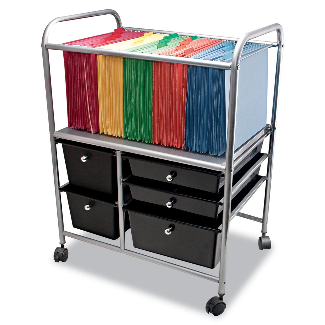 Advantus Letter/Legal File Cart w/Five Storage Drawers, 21-5/8 x 15-1/4 x 28-5/8, Black