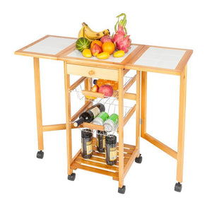 Rolling Drop Leaf Kitchen Storage Cart