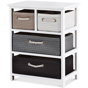 Storage Drawer Nightstand Woven Basket Cabinet Bedside Table