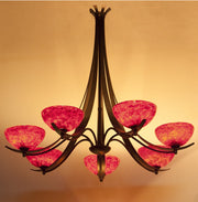 chandelier with art glass red shades