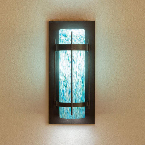 Image shows medium Monet Aqua on White cylinder shade
