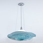 platter pendant with blue shade