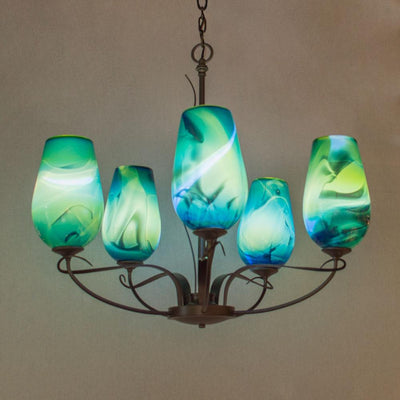 handcrafted five light art glass chandelier