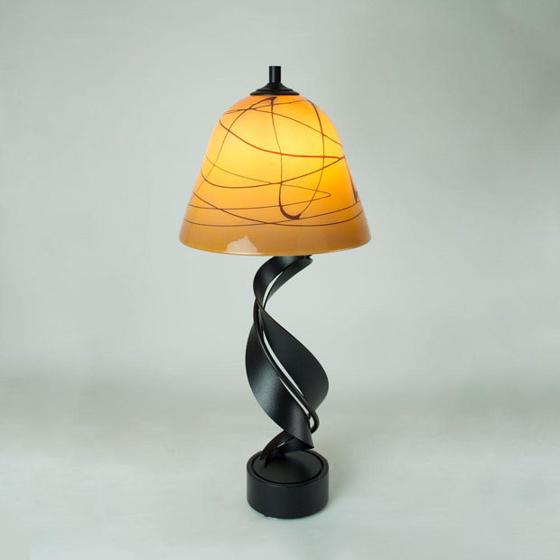table lamp with hand blown glass shade