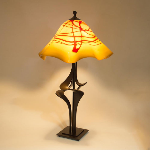 handcrafted table lamp with handmade glass shade