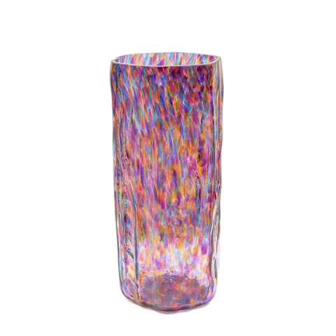 multi colored handmade art glass vase